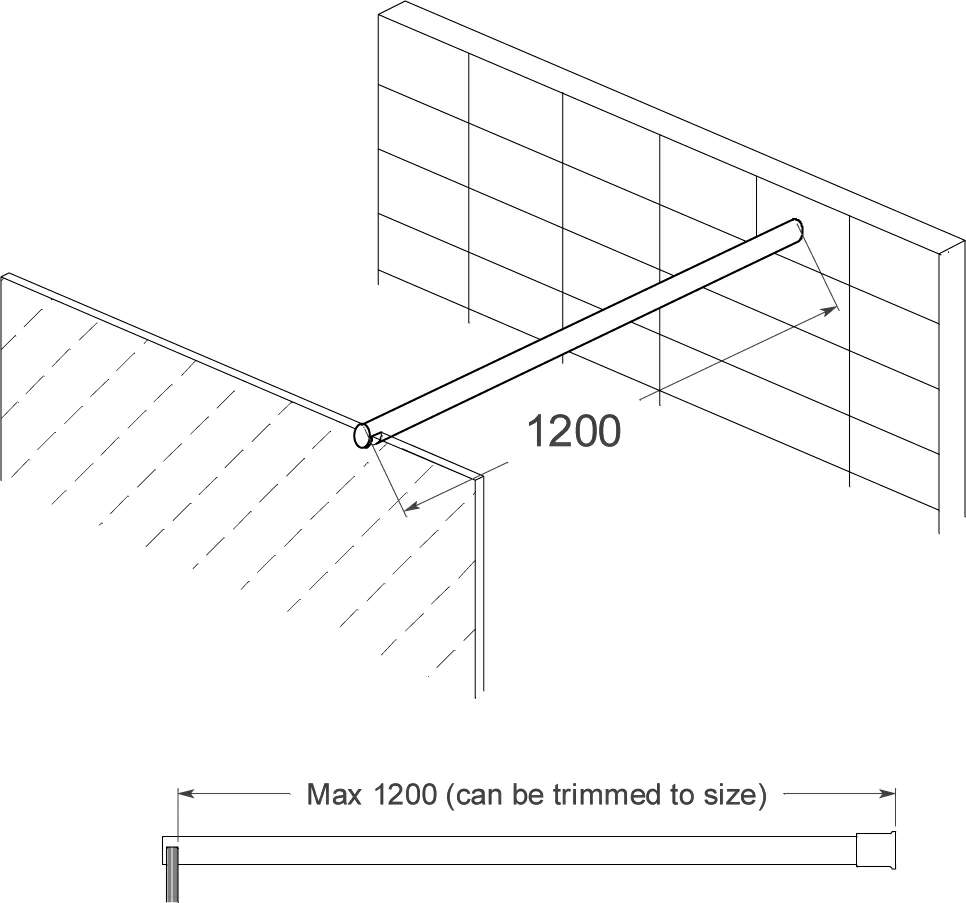 Thumbnail - 1200mm Glass to Wall Over Panel Bracing Bar Chrome