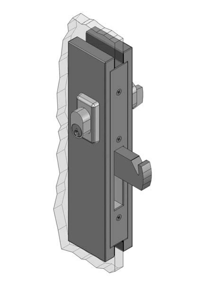 Thumbnail - Slimline Centre Mount Sliding Door Patch Lock SSS