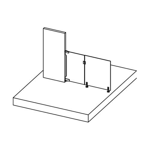 Thumbnail - Base Mount, Glass to Wall, BLK
